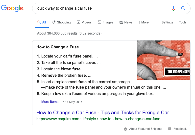 Featured snippets results on google search