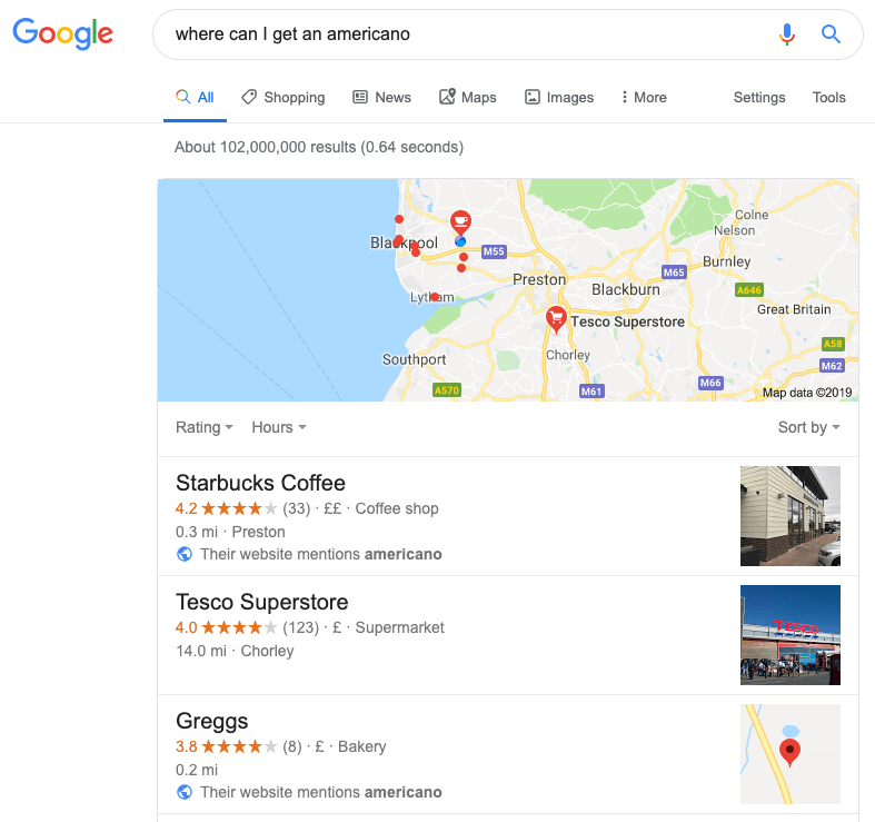 google local SEO snack pac results