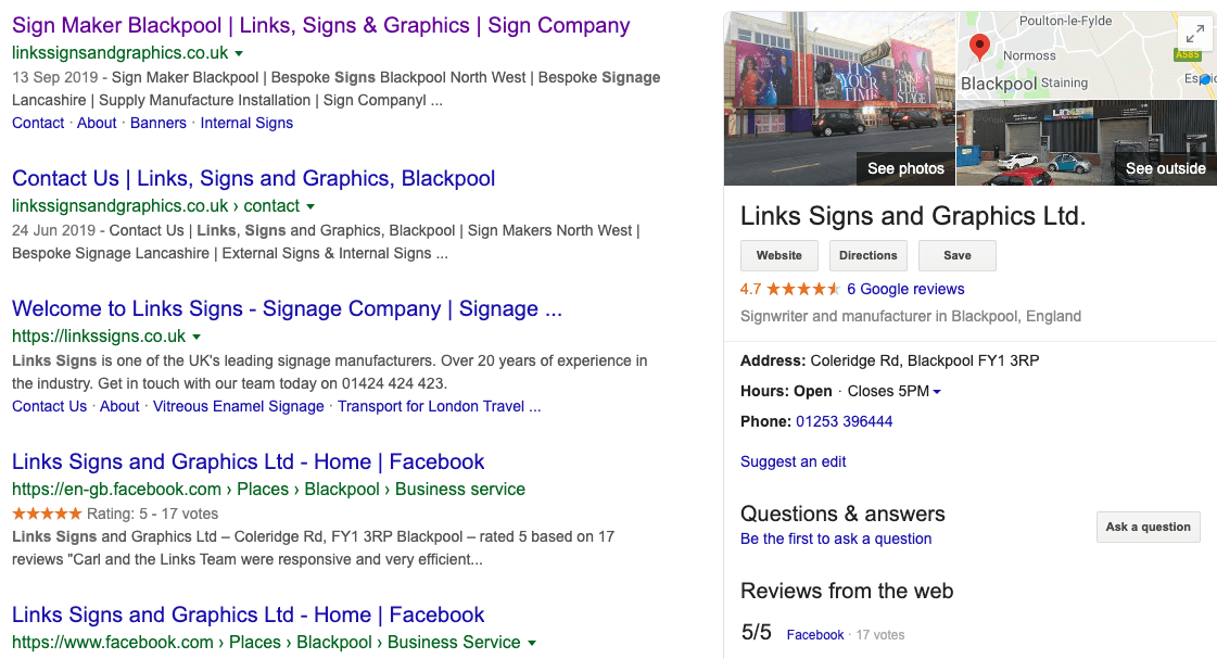 local SEO google my business listing example